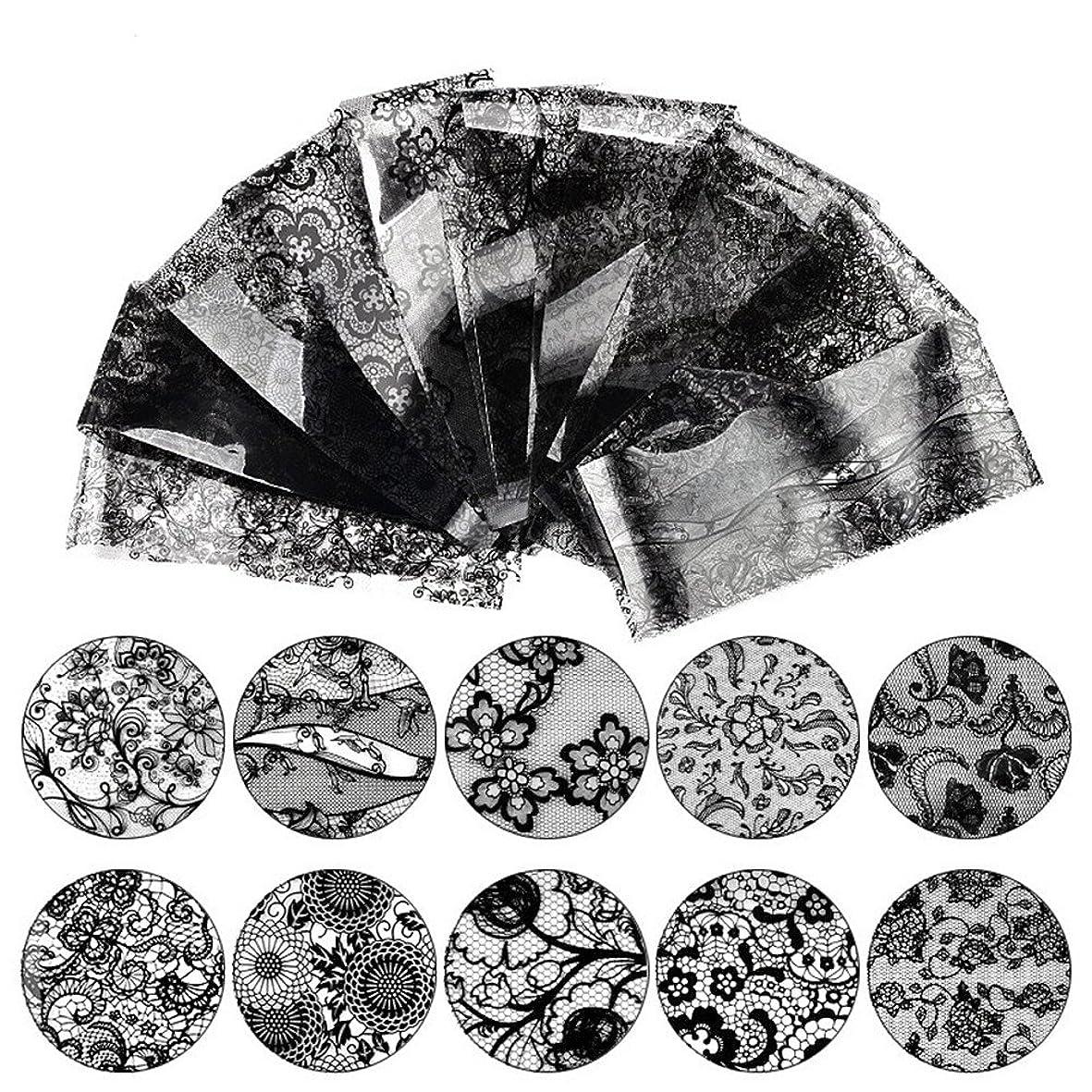 クリーム視線注入する10種セット 黒白2色から選べレースネイルホイルフォイル クラッシュ ギアピーコックパータン ネイルシーツネイルパーツネイルアート (黒)