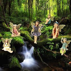 IYSHOUGONG 6Pcs Fairy Statue Miniature Flower Fairy Garden Stone House Doll House Figurine Statue with Bracket for DIY Fairy Garden Dollhouse Decor