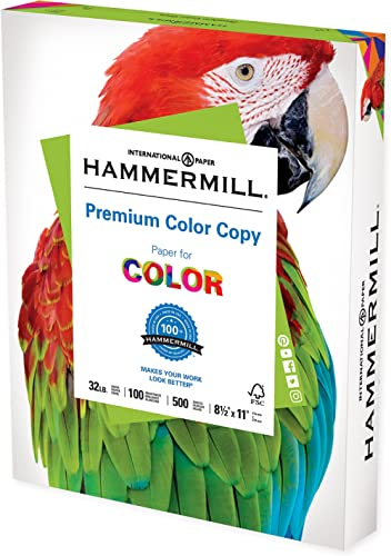 Hammermill Printer Paper, Premium Color 32 lb Copy Paper, 8.5 x 11 - 1 Ream (500 Sheets) - 100 Bright, Made in the USA