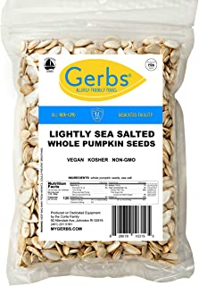 GERBS Lightly Sea Salted Whole Pumpkin Seeds, 16 ounce Bag, Roasted, Top 14 Food Allergy Free, Non GMO, Vegan, Keto, Paleo Friendly
