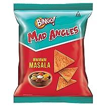 [Pantry] Bingo! Mad Angles Mmmmm Masala, 72.5g Pack, Corn-Based Crunchy Chips Perfect