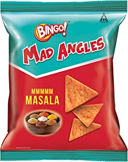 Bingo! Mad Angles Mmmmm Masala, 72.5g Pack, Corn-Based Crunchy Chips Perfect for Snacking