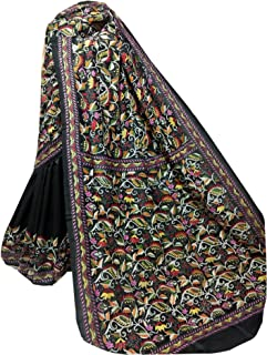 بلوزة ساري نسائية بنغال هندي أسود من الحرير Bnaglori لحفلات الزفاف الساري كامل الجسم خيط عمل يدوي الكناثا 916a