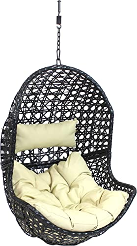discount Sunnydaze Lauren Hanging Egg Chair - Outdoor Patio popular Lounge Seat - Boho Style Furniture - Resin Wicker Basket Design - Includes Beige Cushion - lowest Furniture for Porch, Deck, Balcony and Garden outlet online sale