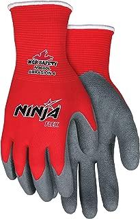 Glove N9680M Ninja Flex Nylon Shell Gloves with Latex Dip Palm and Fingertips,  Gray/Red,  Medium,  1-Pair