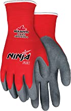 Memphis Glove N9680L Ninja Flex Nylon Shell Gloves with Latex Dip Palm and Fingertips, Gray/Red, Large, 1-Pair