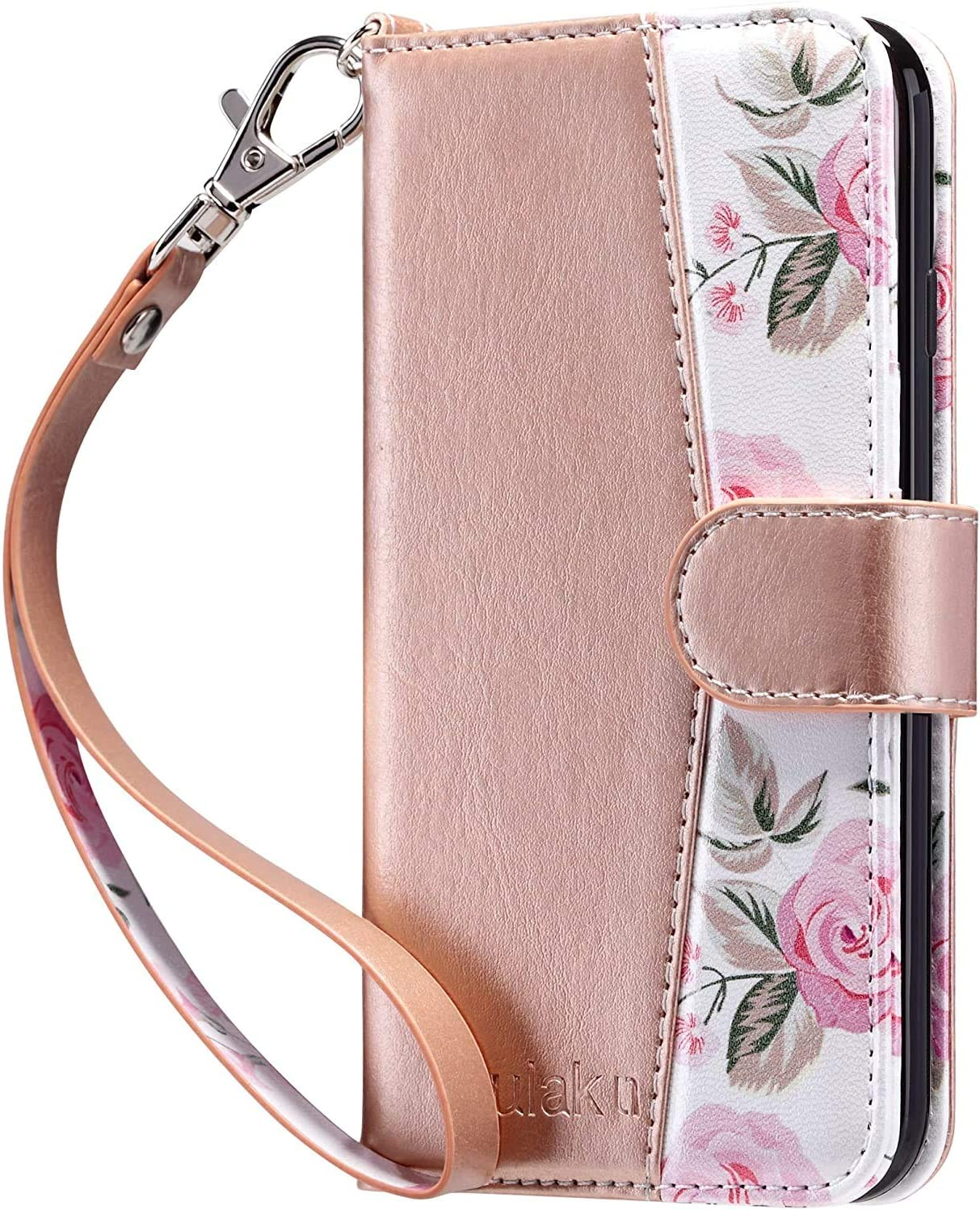 ULAK iPhone XR Wallet Case, Premium PU Leather Flip Folio Case with Card Holders Kickstand Hand Strap Shockproof Protective Cover for iPhone XR 6.1 inch, Rose Gold