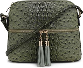 Animal Pattern Lightweight Medium Dome Crossbody Bag with Tassel
