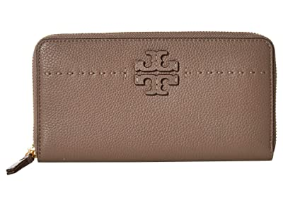 Tory Burch McGraw Zip Continental Wallet (Silver Maple 2) Bill-fold Wallet