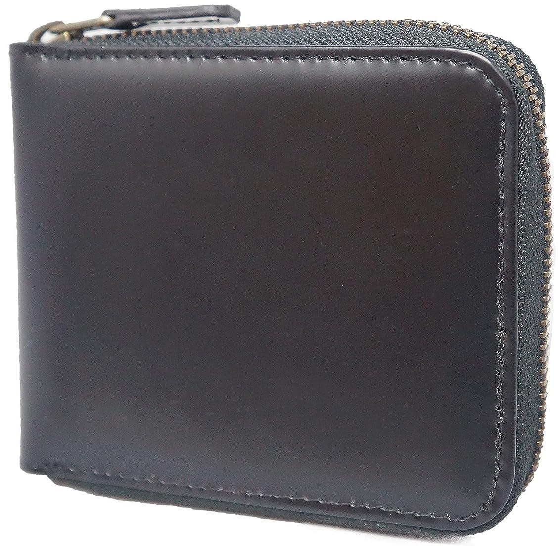 成熟にはまってヒープ[High-end] 【極上の馬革コードバン】 高級 二つ折り財布 ラウンドファスナー ウォレット 短財布 BOX付き ME0107_e