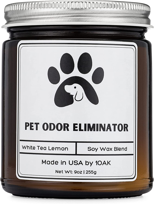 1OAK Pet Odor Candle - Pet Odor Eliminator for Home - pet Candles Odor Eliminator - Dog Odor eliminators for Home - Pet Deodorizers for Home - Room Deodorizer for Home - Soy Candle - White Tea Lemon