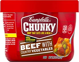 Campbell's Chunky Microwavable Soup, Beef with Country Vegetables Soup, 15.25 oz..