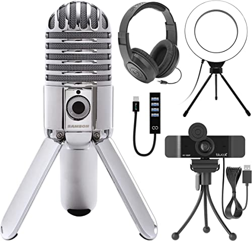"""popular Samson Meteor Mic USB Studio Condenser Microphone for Windows and Mac (Chrome) Bundle with Blucoil 1080p USB Webcam, lowest outlet sale 6"""" Ring Light, Samson SR350 Over-Ear Stereo Headphones, and USB-A Mini Hub outlet online sale"""