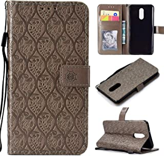 Cmeka Emboss 3D Rattan Flower Wallet Case for LG Stylo 4 Q Stylus Flip Leather Protective Case with Wrist Strap,Magnetic Closure,Credit Card Slots Holder,Kickstand Function (Gray)