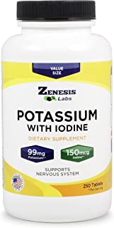 Sponsored Ad - Potassium Gluconate with Iodine Kelp - 250 Tablets - 99mg per Tablet with 150mcg of Iodine - Leg & Muscle C...