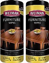 مناديل مبللة لتنظيف وتلميع الخشب من وايمان - عبوتان - غير سامة للأثاث للتجميل والحماية، لا تحتوي على مواد تبنية، تحتوي على...