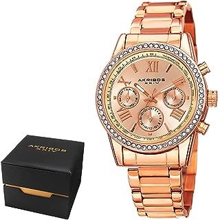 Akribos XXIV Women's Fashion Quartz Multifunction Watch - Sunburst Dial - Featuring a Stainless Steel Bracelet - AKN872