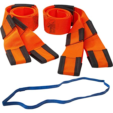 Forearm Forklift Lifting and Moving Straps for Furniture, Appliances, Mattresses or Heavy Items up to 800 lbs, 2-Person, with Mover's Rubber Band, Orange, Model L74995CNFRB