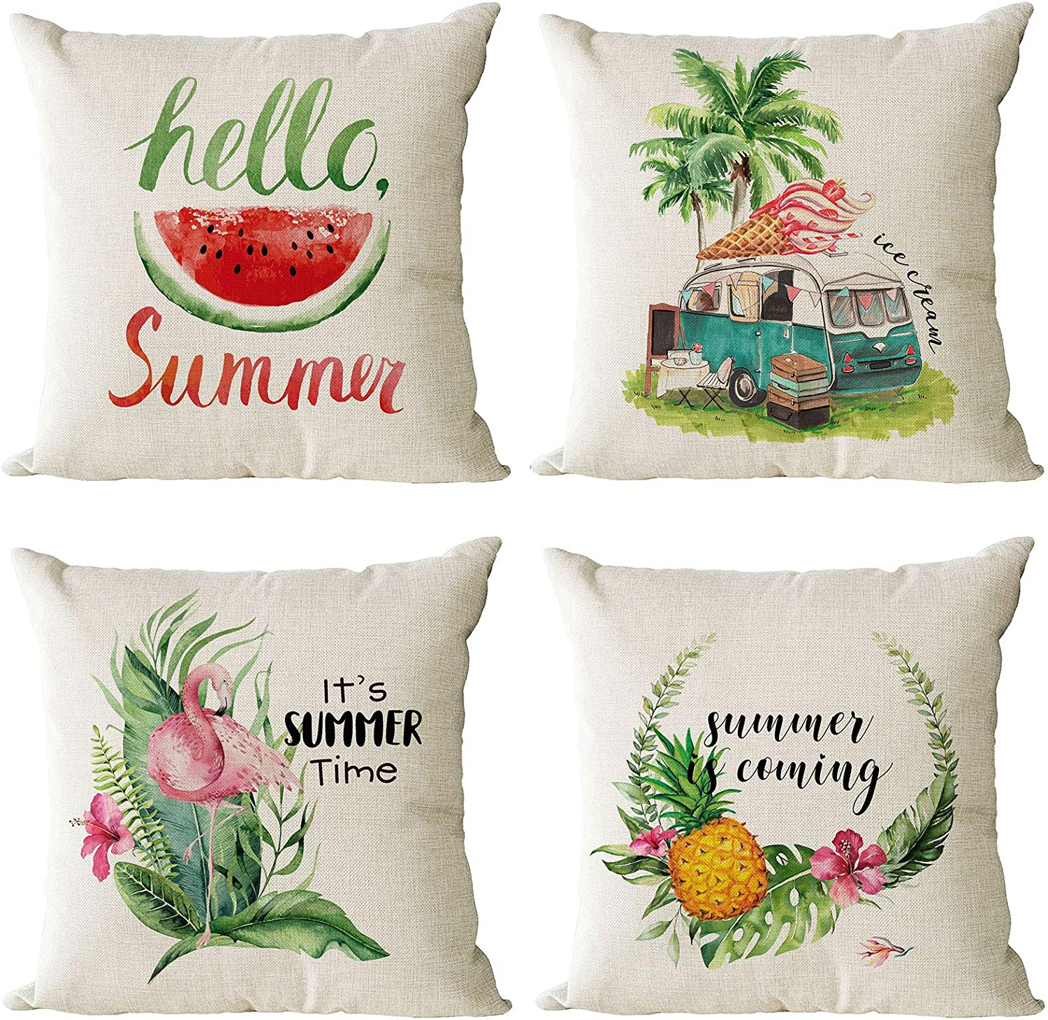 YeeJu Set of 4 Summer Throw 18x18 Deco Inch Pillow Max 51% OFF Covers Max 83% OFF