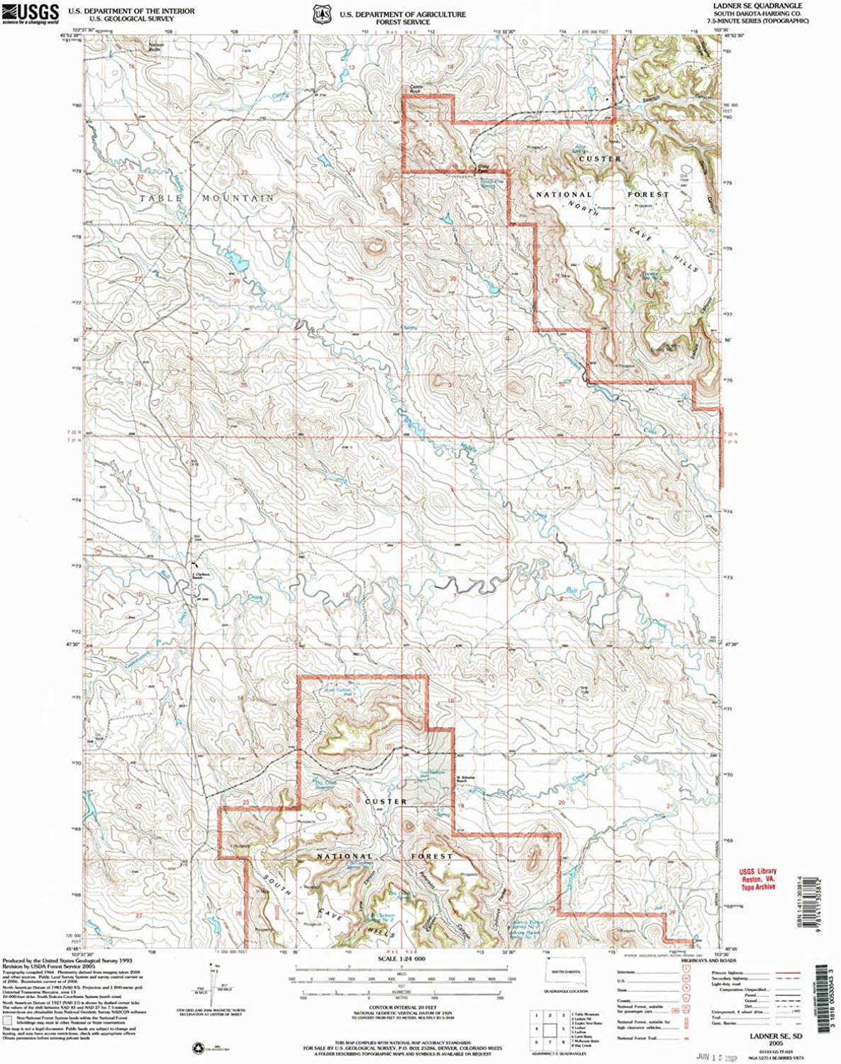 Ladner SE SD topo map, 1 24000 Scale, 7.5 X 7.5 Minute, Historical, 2005, Updated 2007, 26.8 x 22 in