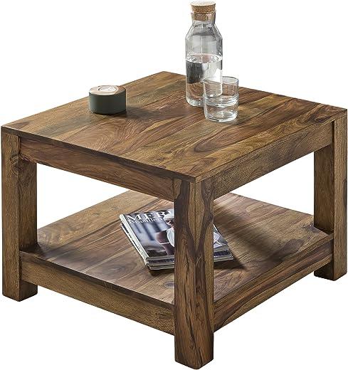 FineBuy Couchtisch Massiv-Holz Sheesham 60 x 60 cm Wohnzimmer-Tisch Design dunkel-braun Landhaus-Stil Beistelltisch Natur-Produkt Wohnzimmermöbel…