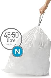 simplehuman Code N Custom Fit Drawstring Trash Bags, 45-50 Liter / 12-13 Gallon (200 Count)
