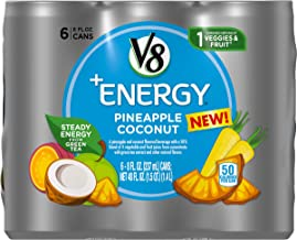 V8 +Energy Healthy Energy Drink, Natural Energy from Tea, Pineapple Coconut, 8 Oz Can (Pack of 6)
