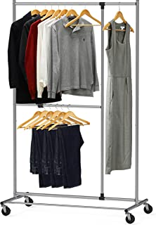 Simple Houseware Dual Bar Adjustable Garment Rack, Chrome, 72-inch Height