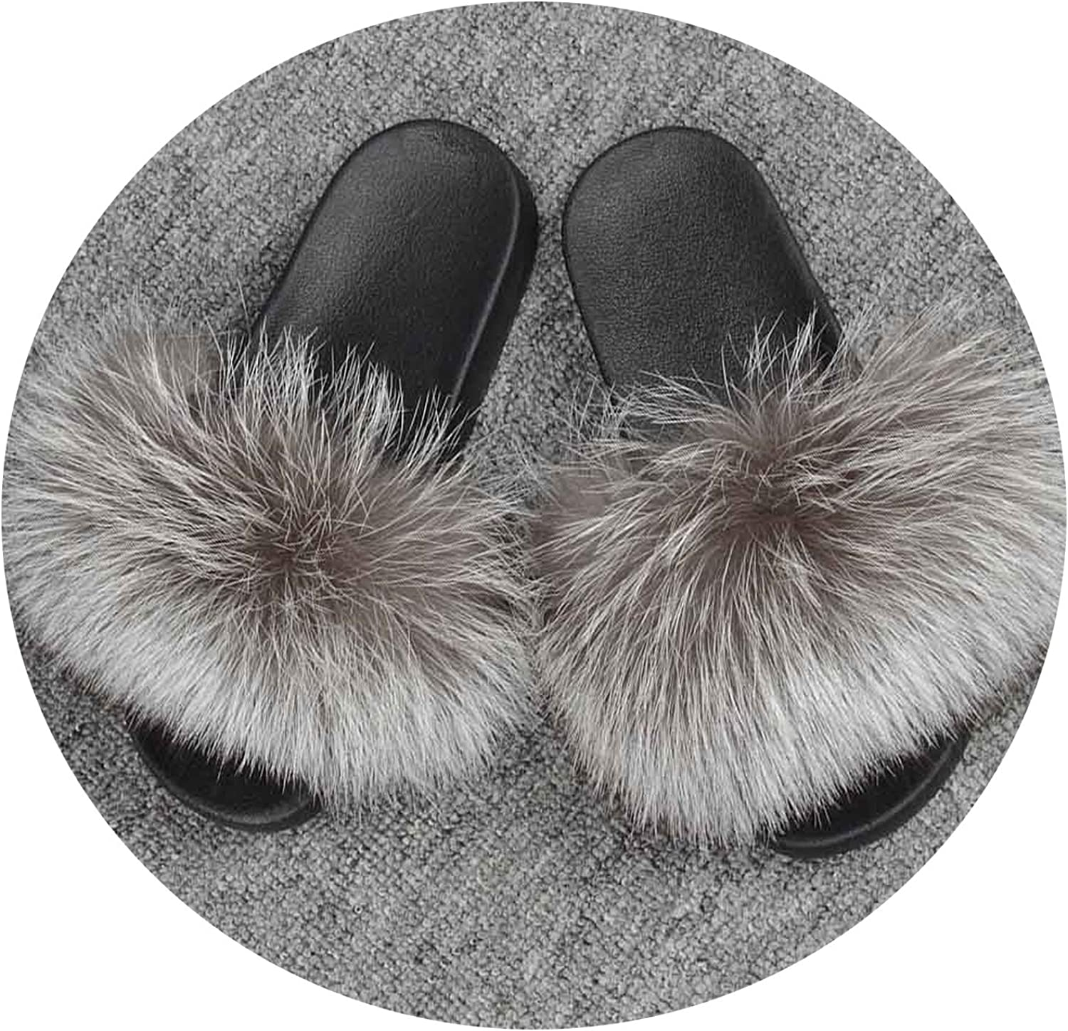 Just XiaoZhouZhou 25 colors Fox Fur Slides Hair Slippers Fluffy Real Fur Sliders Furry Summer Beach Sandal shoes for Ladies Indoor Outdoor S6018S