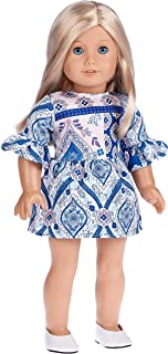 DreamWorld Collections - Party Dress - Blue Dress - Clothes Fits 18 Inch American Girl Doll (Doll Not Included) (Shoes Not Included)