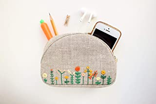 Embroidered makeup bag Small cosmetic purse for women Floral makeup zipper pouch