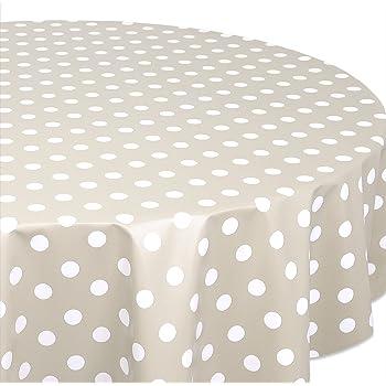 140 cm abwaschbar DecoHomeTextil Wachstuch Wachstischdecke Tischdecke Gartentischdecke Bunte Punkte Beige Rund ca