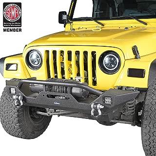 Hooke Road Jeep Wrangler Front Bumper w/Winch Plate & 2 x 18W LED Lights for 1997-2006 Wrangler TJ