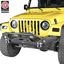 Hooke Road Jeep Wrangler Front Bumper w/Winch Plate & 2 x 18W LED Lights for 1997-2006 Wrangler TJ
