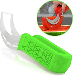 Watermelon Slicer & Cutter by Sleeké - New Extended Silicone Cushioned Handle Made to Slice and Serve with Ease - No Mess, Less Stress