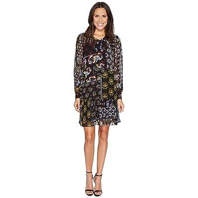 Donna Morgan Mock Two-Piece Dress with Pleated Skirt (Black/Ochre Multi) Women