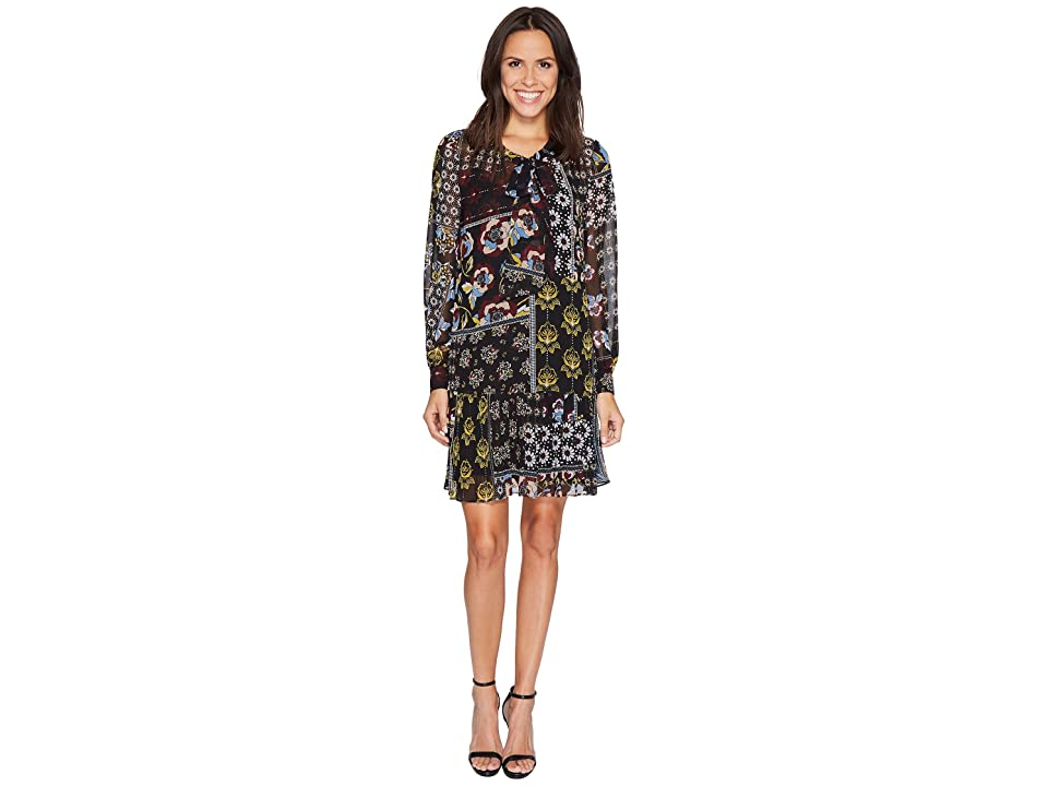 Donna Morgan Mock Two-Piece Dress with Pleated Skirt (Black/Ochre Multi) Women