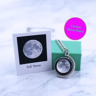 3D Custom Birth Moon Phase Necklace Jewelry with Gift Box; Moon Phase Card Including; Sliver Rotatable Double Side Glass Dome Necklace, Perfect Gift for Birthday, Anniversary, Special Date