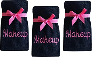 Luxury 100% Cotton Makeup Removal and Cleansing Embroidered Wash Cloths by Home Bargains Plus, New Colors, Set of 3 Make-Up Wash Cloths, Black with Pink Embroidery