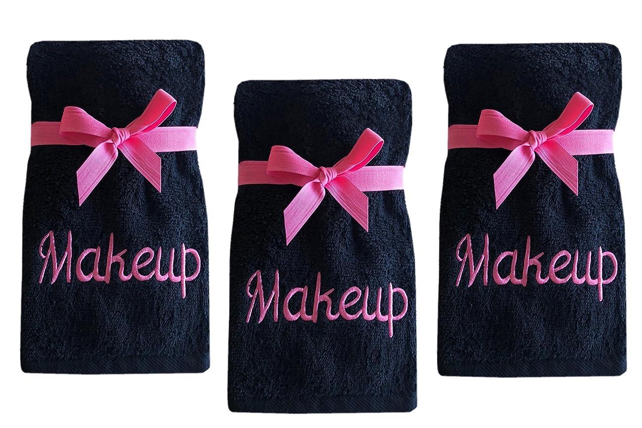 時制品種うめき声ホームBargains Plus高級綿100?%メイクアップの取り外しとクレンジング刺繍finger-tipタオルand Wash Cloths 3?Pack Wash Cloth 3 Pack ピンク