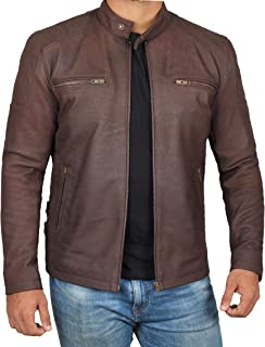 Real Lambskin Leather Jacket Men - Cafe Racer Leather Motorcycle Jacket for Men