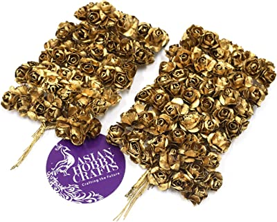 Asian Hobby Crafts Artificial Paper Flowers (Golden, 144 Pieces)