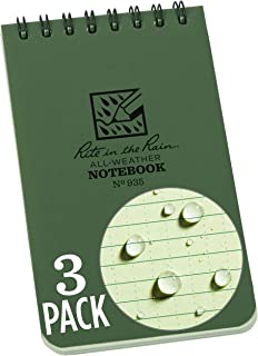 "Rite in the Rain Weatherproof Top Spiral Notebook, 3"" x 5"", Green Cover, Universal Pattern, 3 Pack (No. 935-3)"