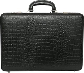 LV | Leather Briefcase Bag for Men |15.6'' Laptop Compartment| |Expandable Features| |High Security Combo Number Lock| 20 Liters | Color (Black)