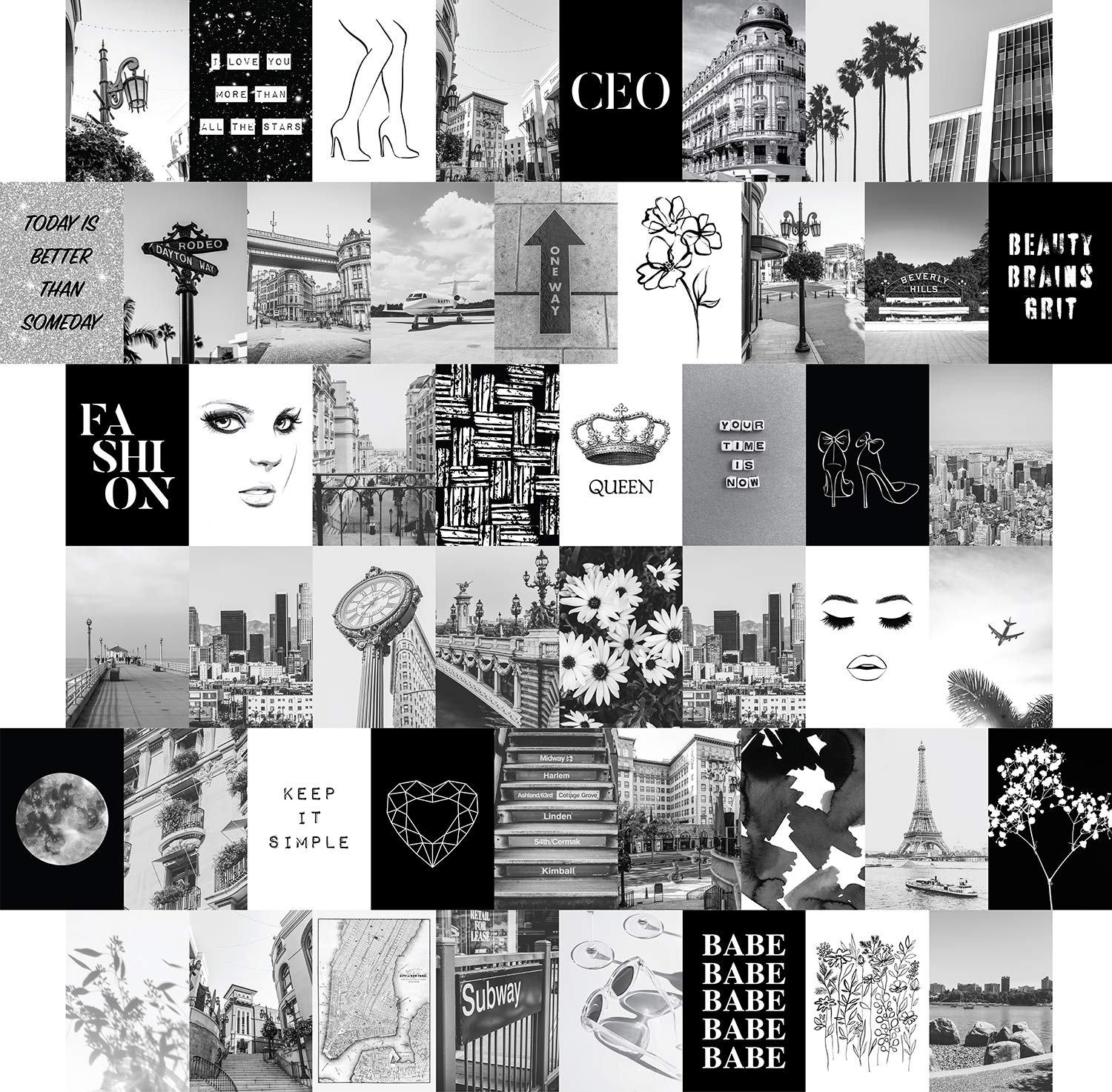 Amazon Com Artivo Black White Wall Collage Kit Aesthetic Pictures 50 Set 4x6 City Chic Wall Decor For Teen Girls College Dorm Room Decor Photo Collection Wall Art