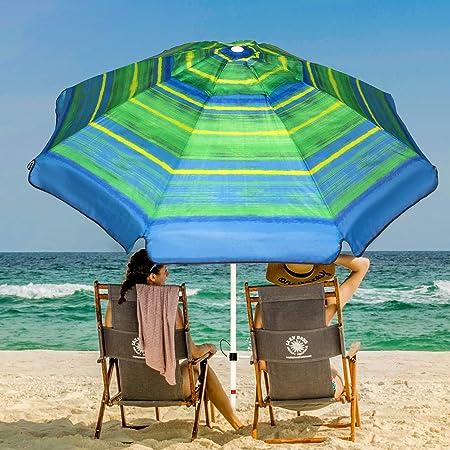 AMMSUN 6.5 ft Outdoor Patio Beach Umbrella Sun Shelter w//Tilt Air Vent Carry Bag Multicolor Red Green