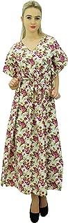 Phagun Womens Floral Printed Cotton Maxi Kaftan Drawstring Caftan Night Gown