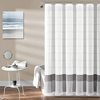 """Lush Decor White Woven Cotton Shower Curtain with Gray Stripe and Tassel Fringe, Bathroom Accessories (72"""" x 72"""")"""