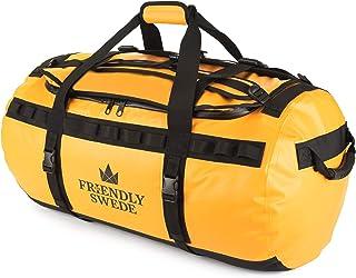 The Friendly Swede Wasserfeste Reisetasche Duffle Bag Rucksack - 30L / 60L / 90L - Seesack, Sporttasche Duffel Dry Bag mit Rucksackfunktion - SANDHAMN Gelb, 90L