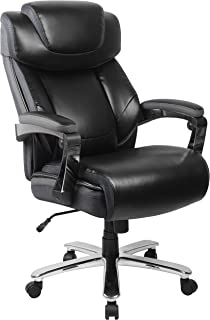 Flash Furniture HERCULES Series Big & Tall 500 lb. Rated Black Leather Executive Swivel Ergonomic Office Chair with Adjustable Headrest
